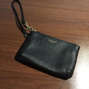 Coach Black Saffianno Leather Wristlet Wallet
